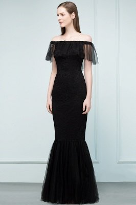 SYLVIA | Mermaid Floor Length Off-shoulder Lace Tulle Prom Dresses