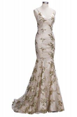 SAGE | Mermaid V-neck Spaghetti Floor-length Crystal Beads Prom Dresses_12