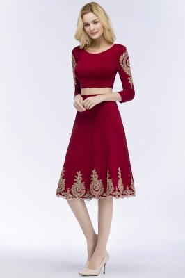 ROSAMOND | A-line Two-piece Long Sleeves Tea Length Appliques Homecoming Dresses_5