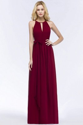 ROSALIND | A-line Halter Floor Length Burgundy Bridesmaid Dresses with Bow Sash_1