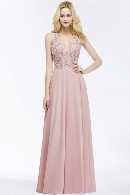 PAM | A-line V-neck Sleeveless Long Appliques Chiffon Bridesmaid Dresses