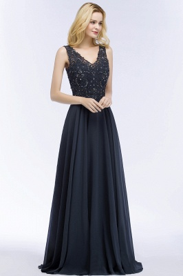 PATRICIA | A-line V-neck Sleeveless Long Appliqued Chiffon Prom Dresses with Crystals_5