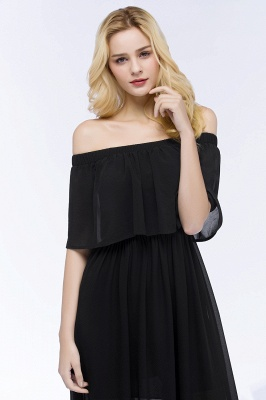 PANDORA | A-line Off-the-shoulder Floor Length Black Chiffon Bridesmaid Dresses_8
