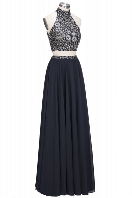ROSINA | A-line Two-piece Long Halter Crystals Beading Black Prom Dresses