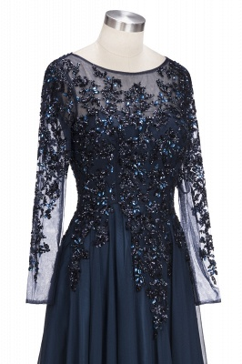 ROWENA | A-line Floor Length Long Sleeves Crystals Tulle Prom Dresses_6