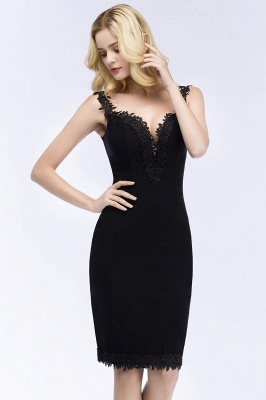 PAIGE | Mermaid Knee Length Sweetheart Sleeveless Black Appliques Homecoming Dresses_5