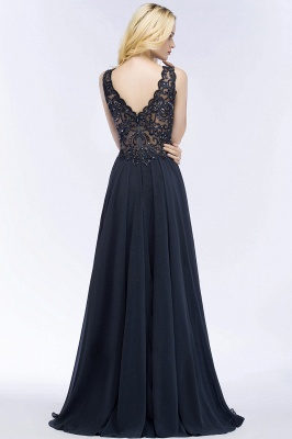 PATRICIA | A-line V-neck Sleeveless Long Appliqued Chiffon Prom Dresses with Crystals_4