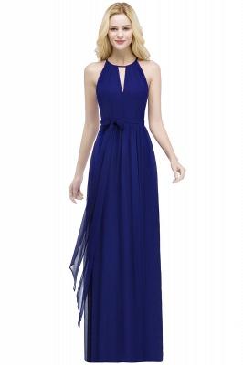 РОСАЛИНД | A-line Halter Floor Length Burgundy Bridesmaid Dresses with Bow Sash_4