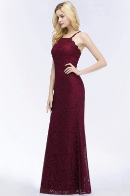 PATTI | Mermaid Floor Length Halter Lace Burgundy Bridesmaid Dresses_7