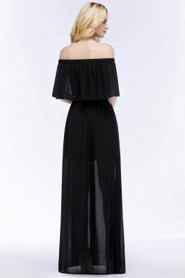 PANDORA | A-line Off-the-shoulder Floor Length Black Chiffon Bridesmaid Dresses_3