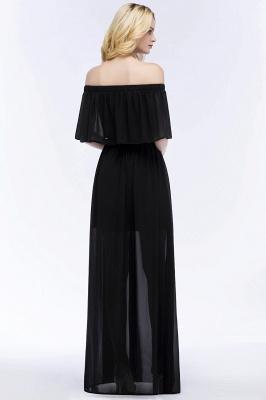 PANDORA | Una línea de hombro hasta el suelo palabra de longitud negro gasa vestidos de dama de honor_3