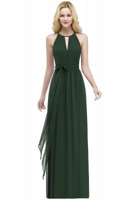 РОСАЛИНД | A-line Halter Floor Length Burgundy Bridesmaid Dresses with Bow Sash_7