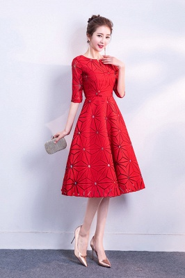 71b99bdac A-line Tea Length sequined Patterns Half Sleeves Homecoming/Cocktail Dresses  with Sash