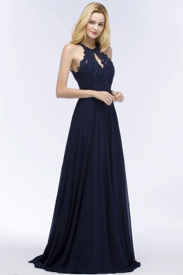 PANSY | A-line Keyhole Neckline Halter Long Beading Prom Dresses
