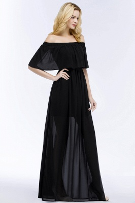 PANDORA | A-line Off-the-shoulder Floor Length Black Chiffon Bridesmaid Dresses_4