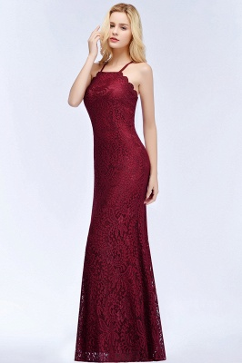 PATTI | Mermaid Floor Length Halter Lace Burgundy Bridesmaid Dresses_8