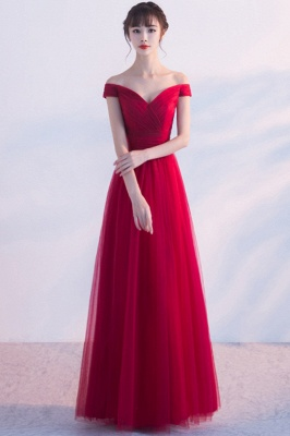 A-line Floor Length Off-the-shoulder Lace-up Ruffled Tulle Prom Dresses/Formal Evening Gowns  with Sash_7