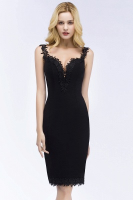 PAIGE | Mermaid Knee Length Sweetheart Sleeveless Black Appliques Homecoming Dresses_2