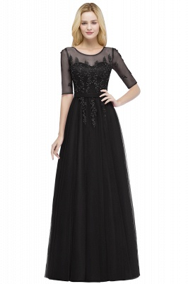 QUEENIE | A-line Floor Length Appliques Tulle Bridesmaid Dresses with Sleeves_4