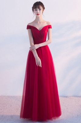 A-line Floor Length Off-the-shoulder Lace-up Ruffled Tulle Prom Dresses/Formal Evening Gowns  with Sash_1