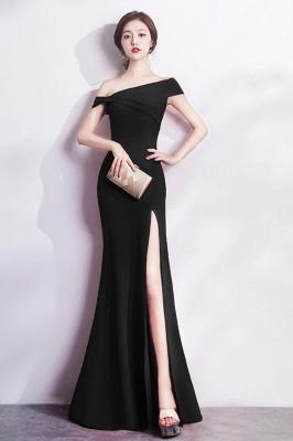 Mermaid Floor Length One-shoulder Slit Prom/Formal Evening Dresses_6