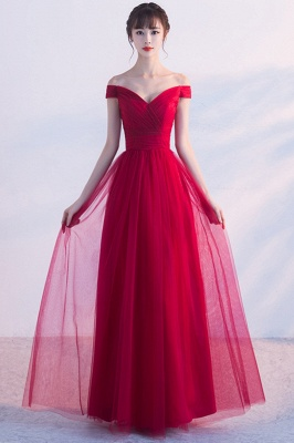 A-line Floor Length Off-the-shoulder Lace-up Ruffled Tulle Prom Dresses/Formal Evening Gowns  with Sash_5