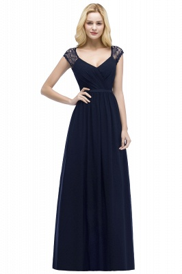 ROSALIA | A-line V-neck Floor Length Lace Chiffon Bridesmaid Dresses with Sash_3