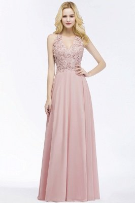 PAM | A-line V-neck Sleeveless Long Appliques Chiffon Bridesmaid Dresses_5