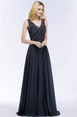 PATRICIA | Une ligne de v-cou sans manches longues appliques en mousseline de soie robes de bal avec des cristaux_5