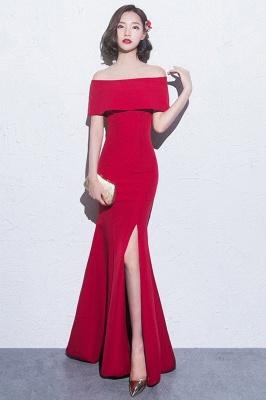 Mermaid Off-the-shoulder Long Slit Formal Evening Gowns/Prom Dresses_8