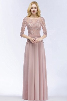 Lace Appliques Chiffon Long Bridesmaid Dresses with Sleeves_1