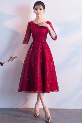 A-line Scoop Half Sleeves Tea Length Sequined Patterns Homecoming/Cockatail Dresses_2