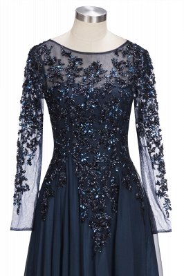 ROWENA | A-line Floor Length Long Sleeves Crystals Tulle Prom Dresses_4