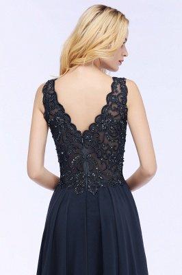PATRICIA | Une ligne de v-cou sans manches longues appliques en mousseline de soie robes de bal avec des cristaux_11