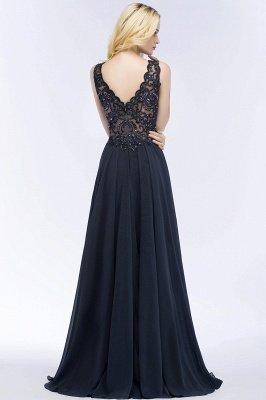 PATRICIA | Une ligne de v-cou sans manches longues appliques en mousseline de soie robes de bal avec des cristaux_4