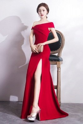 Mermaid Floor Length One-shoulder Slit Prom/Formal Evening Dresses_5