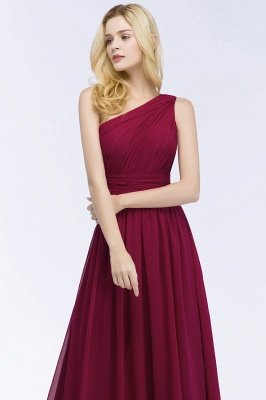 PATTIE | A-line One-shoulder Floor Length Burgundy Ruffled Chiffon Bridesmaid Dresses_8