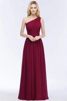 PATTIE | A-line One-shoulder Floor Length Burgundy Ruffled Chiffon Bridesmaid Dresses_1