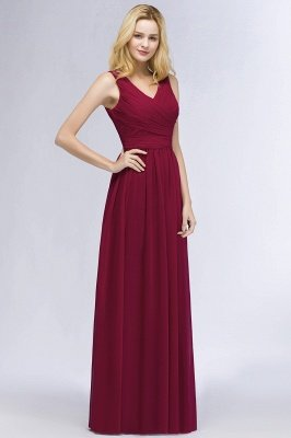PATIENCE | A-line Floor Length V-neck Sleeveless Ruffled Chiffon Bridesmaid Dresses_4