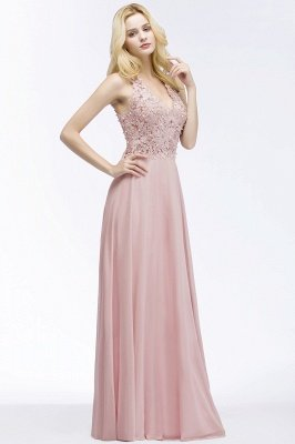 PAM | A-line V-neck Sleeveless Long Appliques Chiffon Bridesmaid Dresses_9