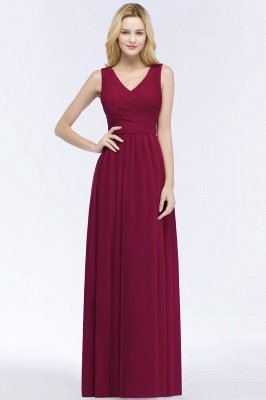 PATIENCE | A-line Floor Length V-neck Sleeveless Ruffled Chiffon Bridesmaid Dresses_1