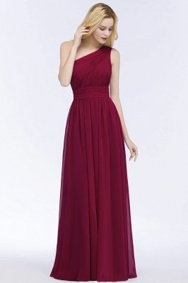 PATTIE | A-line One-shoulder Floor Length Burgundy Ruffled Chiffon Bridesmaid Dresses_6