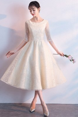 A-line Scoop Half Sleeves Tea Length Sequined Patterns Homecoming/Cockatail Dresses_1