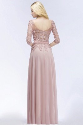 Lace Appliques Chiffon Long Bridesmaid Dresses with Sleeves_3