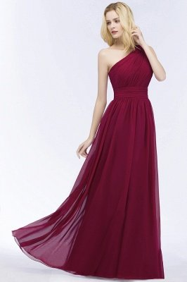 PATTIE | A-line One-shoulder Floor Length Burgundy Ruffled Chiffon Bridesmaid Dresses_4