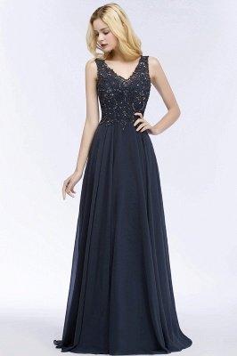 PATRICIA | Une ligne de v-cou sans manches longues appliques en mousseline de soie robes de bal avec des cristaux_8