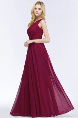 PATTIE | A-line One-shoulder Floor Length Burgundy Ruffled Chiffon Bridesmaid Dresses_5