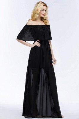 PANDORA | Uma linha off-a-ombro até o chão preto vestidos de dama de honra chiffon_4