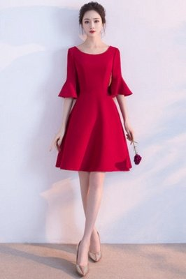 A-line Knee Length Scoop Ruffles Homecoming/Cocktail Dresses with Sleeves