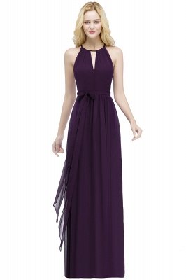 ROSALIND | A-line Halter Floor Length Burgundy Bridesmaid Dresses with Bow Sash_2